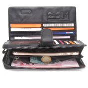 Contacts Mens Real Leather Bifold Card Holder Short Wallet with Coin Pocket Purse Black