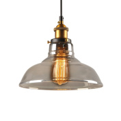E27 Screw Industrial Vintage Style Lampshade Hanging Light Fixture Glass Pendant Light Holder Diameter 28 cm