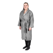 Homescapes Charcoal Grey Adults Dressing Gown with Shawl Collar 100% Egyptian Cotton Terry Towelling Unisex Bathrobe, XXL