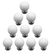 TXXCI 10Pcs Cute Cherry Round Ceramic Door Cabinet Knob Drawer Pull Handle with Screw for Home Decorating - White