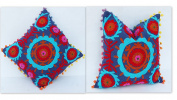 HANDICRAFTODPINKCITY set of 2 Pcs Lot Vintage Suzani Cushion Cover Embroidered 41cm x 41cm Indian Pillow Case Decorative