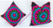 HANDICRAFTODPINKCITY Squire Shape 2 Pcs Lot Vintage Suzani Cushion Cover Embroidered 41cm x 41cm Indian Pillow Case Decorative