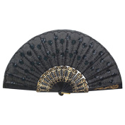 Gemini_mall® Embroidered Flower Pattern Cloth Folding Hand Fan Sequins Accent