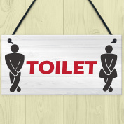 Red Ocean Retro Toilet Sign Funny Vintage Pub Bar Club Hanging Plaque Bathroom Loo Door Decor Sign