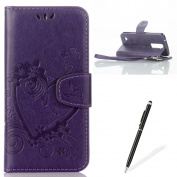 Feeltech LG K8 Flip case, Luxury Embossed Heart Butterfly Series Design Pattern Premium Ultra Slim PU Leather Wallet Cover [With Free Stylus Pen] Magnetic Clasp Closure Soft TPU Inner Bumper Built-in Foldable Stand Function Pocket Card Slots ID Holder ..