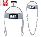 RAD Adjustable GYM Weight Lifting Head Neck Harness Dipping Neck Builder Belt Chain Grey