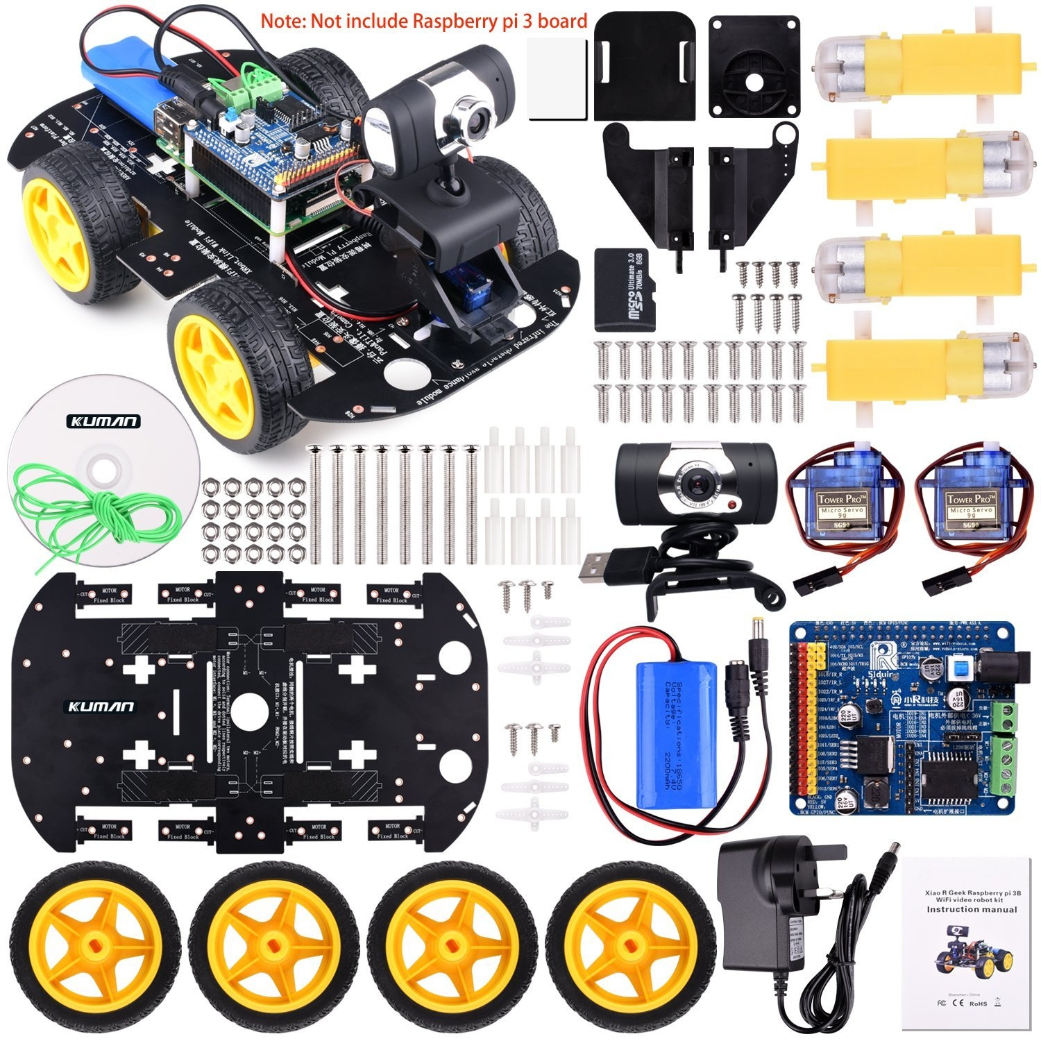 Kuman Professional WIFI Smart Robot Model Car kit Video Camera for  Raspberry Pi 3 RC Remote Control Robotics Electronic Toys Game Controlled  by PC