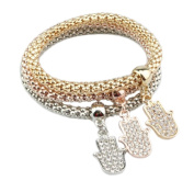 Hosaire Fashion Bracelet Crystal Charm Buddha Palm Chain For Womens Girls Party Jewellery Pack of 3