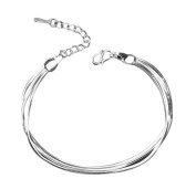 Hosaire Bracelet Crystal Charm Fashion Silver Chain For Womens Girls Party Jewellery-It Is Made by 3 Pcs Thin Bracelet