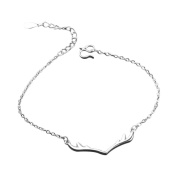 Hosaire Bracelet Crystal Charm Fashion Silver Antlers Chain For Womens Girls Party Jewellery