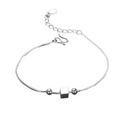Hosaire Anklet Fashion Crystal Charm Silver Small Square Foot Chain For Womens Girls Party Jewellery-The Most Eye Catching for Summer Dress