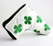 MamimamiH Golf lucky white green shamrock clover Golf Blade Style Putter Head cover Headcover