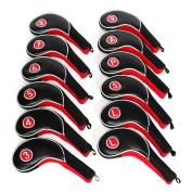 12pcs Golf Iron Putter Head Covers Headcover Set Black & Red Fit All Brands Titleist, Callaway, Ping, Taylormade, Cobra, Nike, Etc.