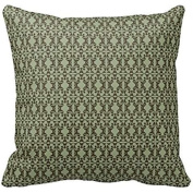 Home Decorative Sage Olive Green And Brown Ornate Damask Pattern Pillow Throw Pillow Cover Cushion Case 46cm