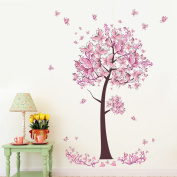 Pink butterfly flowers Tree Wall Art Decal Sticker Mural Removable Decoration for Living Room Nursery Decor Baby Girl Kid Children Women Room Bedroom