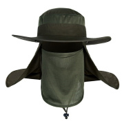 Summer Outdoor 360 Degree Sun Protection Fishing Cap Breathable Quick Dry Mesh Neck Face Shield Cover Mask Flap Hat Wide Brim Packable Sun Hat Shade Hiking Hunting Fishing Safari Boonie Cap for men