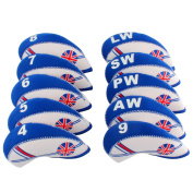 MamimamiH GOLF 10pcs UK Flag Neoprene Golf Club Iron Head covers cover set Headcovers Blue White