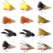 The Fly Fishing Place Streamer Fly Assortment - Guide's Choice Marabou Muddler Minnow Streamer Flies Collection - 1 Dozen Fly Fishing Flies - Sizes 4