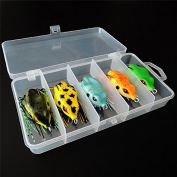 Isafish Fishing Frog Lure Set with Tackle Box Artificial Baits 5.5cm/ 10g Bass Fishing Lures Crankbait Tackle with Hook Set