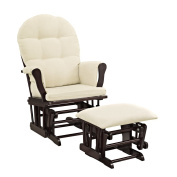Windsor Glider and Ottoman White Finish and Beige Cushions