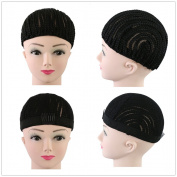 2pcs Cornrow Wig Cap For Making Wigs Adjustable Black Colour Crochet Braided Weaving Ventilated Cap Lace Elasti Hairnet Hair Styling Tool