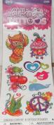 Savvi Glitter Girl Tattoos Temporary Tattoos - 8 Tattoos - Owl, Cupcake, Heart Cherries, Bird, Peace, Whale
