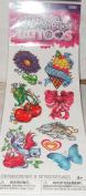 Savvi Glitter Girl Tattoos Temporary Tattoos - 8 Tattoos - Flower, Ice Cream, Cherries, Ribbon, Dolphin, Butterfly, Heart, Bird