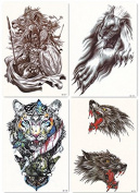 DaLin 4 Sheets Temporary Tattoos for Men Women, War Lion, Wolf, Tiger