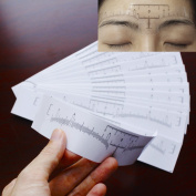 Airgoesin 50pcs Disposable Eyebrow Ruler Scale Sticker Tape Makeup Tattoo Shaper Measuring Tool