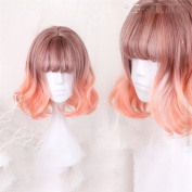 Ombre Wine Red T Orange Wigs Body Wave Short Bob Hair, Heat Resistant Synthetic Hair Womens Wigs
