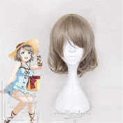 Brown Short Synthetic Wigs Natural Wavy Heat Resistant Cosplay Wigs
