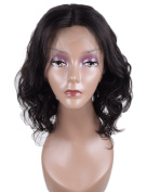 Auspiciouswig Curly Bob Full Lace Human Hair Wigs Brazilian Virgin Hair Lace Front Wigs for Women Natural Colour