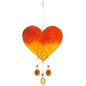 Jones Home and Gift Heart Sun Catcher, Orange/Yellow