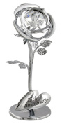 """""""25th Anniversary"""" Silver Plated Flower with Clear Crystal Glass by Haysom Interiors"""