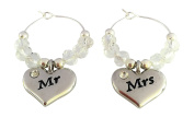 Heart Shaped Mr & Mrs Wedding Wine Glass Charms with Gift Card Handmade by Libby's Market Place