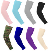 CiSiRUN Unisex Arm Sleeves Sun Block UV Protection Warmer or Cooler Band Long Arm Sleeves for Cycling/Golf/Basketball/ Other Sports (8 pairs)