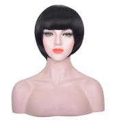 AOGSY Straight Short Hair Bob Natural Flat Bangs Synthetic Wigs for women