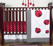 Red and White Polka Dot Ladybug Baby Girl Bedding 4 Piece Crib Set Without Bumper