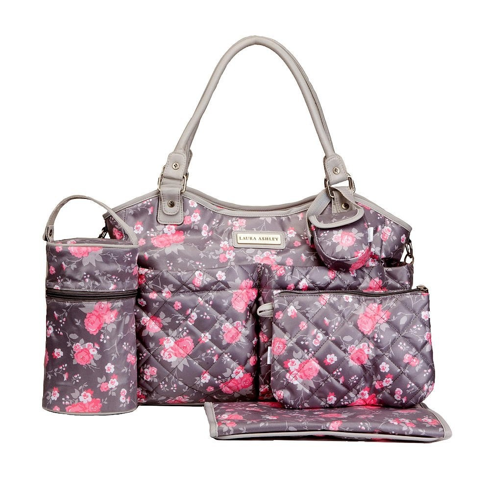 65124b064f89 Laura Ashley 6 in 1 Floral Tote Nappy Bag Grey and Pink by Laura ...