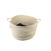 Large Cotton Rope Storage Baskets With Handles Soft Durable Toy Storage Nursery Bins 40cm 26cm