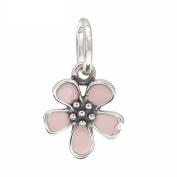 Cherry Blossom Pink Enamel Charm 925 Sterling Silver Dangling Flower Beads fit Fashion bracelets & Necklaces