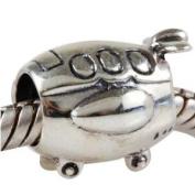 Plane/Aeroplane Charm 925 Sterling Silver Travel Flight Beads fit Fashion bracelets & Necklaces