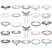 24Pcs Multiple Collar Choker Necklace Length Adjustable Gothic Tattoo Necklace for Girls