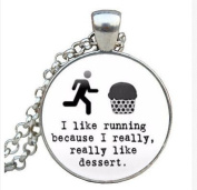 Running Jewellery - Running Quote Jewellery - Glass Pendant Running Jewellery