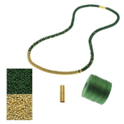 Refill - Long Beaded Kumihimo Necklace - Green and Gold - Exclusive Beadaholique Jewellery Kit