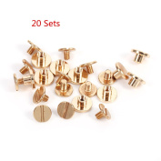 20 Sets 5mm x 9mm Dia Solid Brass Slotted Head Button Stud Screw Nail Screwback Leather Craft Rivet for Album Handbags Shoes Pet Belts DIY Screws