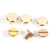 20 Sets 8mm x 9mm Dia Solid Brass Slotted Head Button Stud Screw Nail Screwback Leather Craft Rivet for Album Handbags Shoes Pet Belts DIY Screws