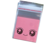100 Pcs Cute Big Eye Smile Face 7x7+3cm Cellophane Seal Bags Cookie Candy Biscuit Baking Self Adhesive Packaging Bags Party Gift Decoration Treat Bags
