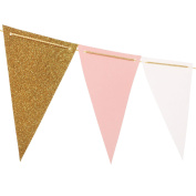 Ling's moment 3m Vintage Style Pennant Banner (Plus Size), Paper Triangle Flags Bunting for Wedding, Baby Shower, Event & Party Supplies, 15pcs Flags