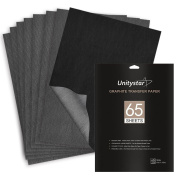 Graphite Transfer Paper, UnityStar 65 Sheets (23cm x 33cm ) Carbon Tracing Paper for Tracing on Paper Wood Metal Painted Canvas or Other Art Surfaces, for Artists, Grey